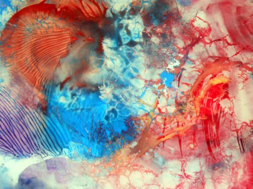Otto Rapp Painting: Decalcomaniac Colorfield Abstraction without Number