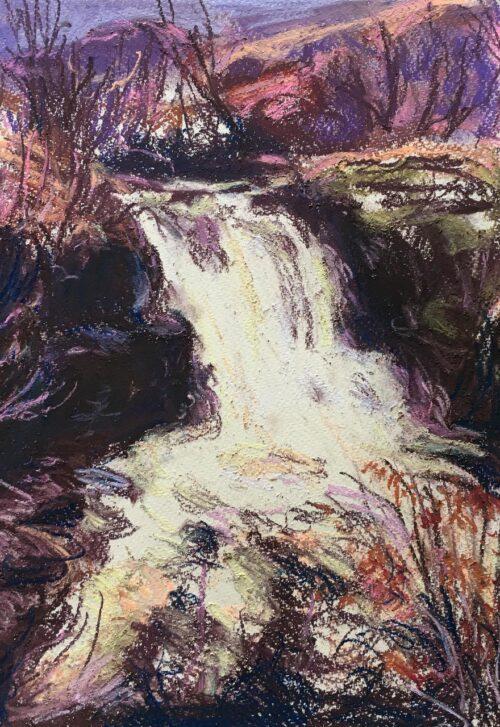 End Of Autumn Waterfall Gideon Summerfield Painting