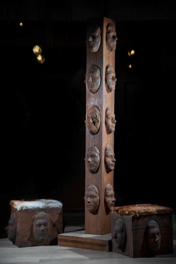 Facecollector michael lang skulptur