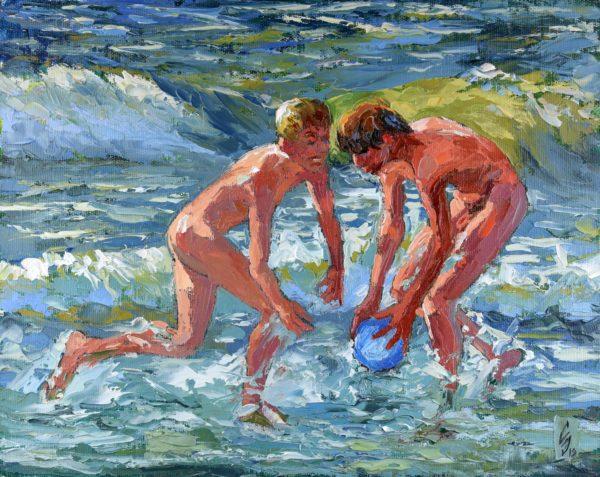 In The Oncoming Waves Gay Art Sergey Sovkov Painting