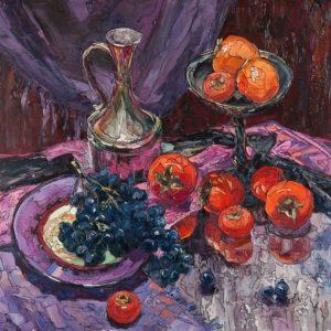 Kaki And Grapes Painting Sergey Sovkov