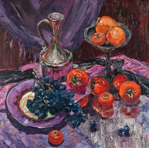 Sergey Sovkov Painting: Kaki and Grapes