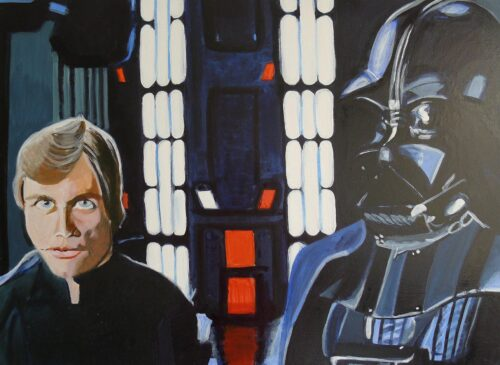Luke And His Father Darth Vader On The Death Star Star Wars Painting Anne Suttner