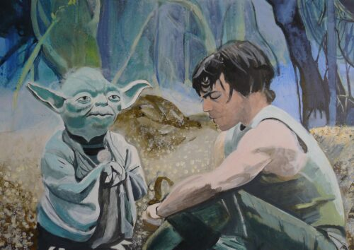Master Yoda With Padawan Luke Skywalker On Dagobah The Power Is Strong In You Star Wars Painting Anne Suttner