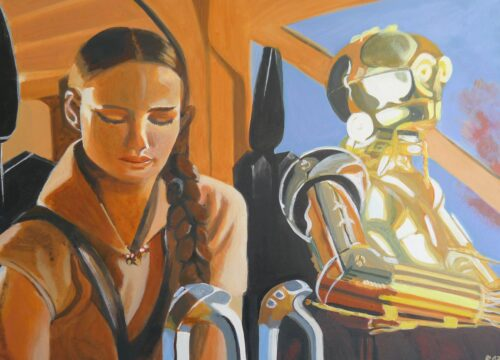 Anne Suttner Drawing: Padmé and C-3PO on their way to Mustafar