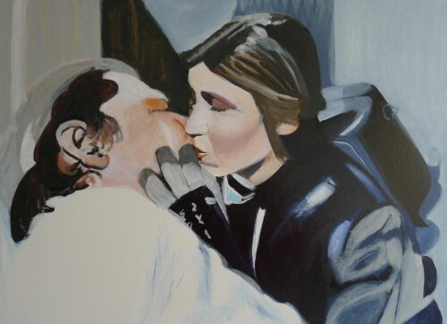 Anne Suttner Drawing: Princess Leia kisses Han Solo after she thawed him out of the carbonite