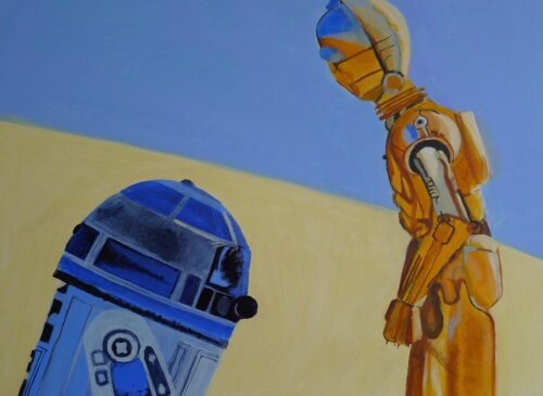 R2d2 And C3po On Tatooine Star Wars Painting Anne Suttner