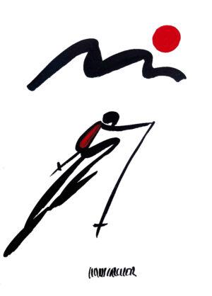Rot Am Berg Zeichnung Hans Salcher