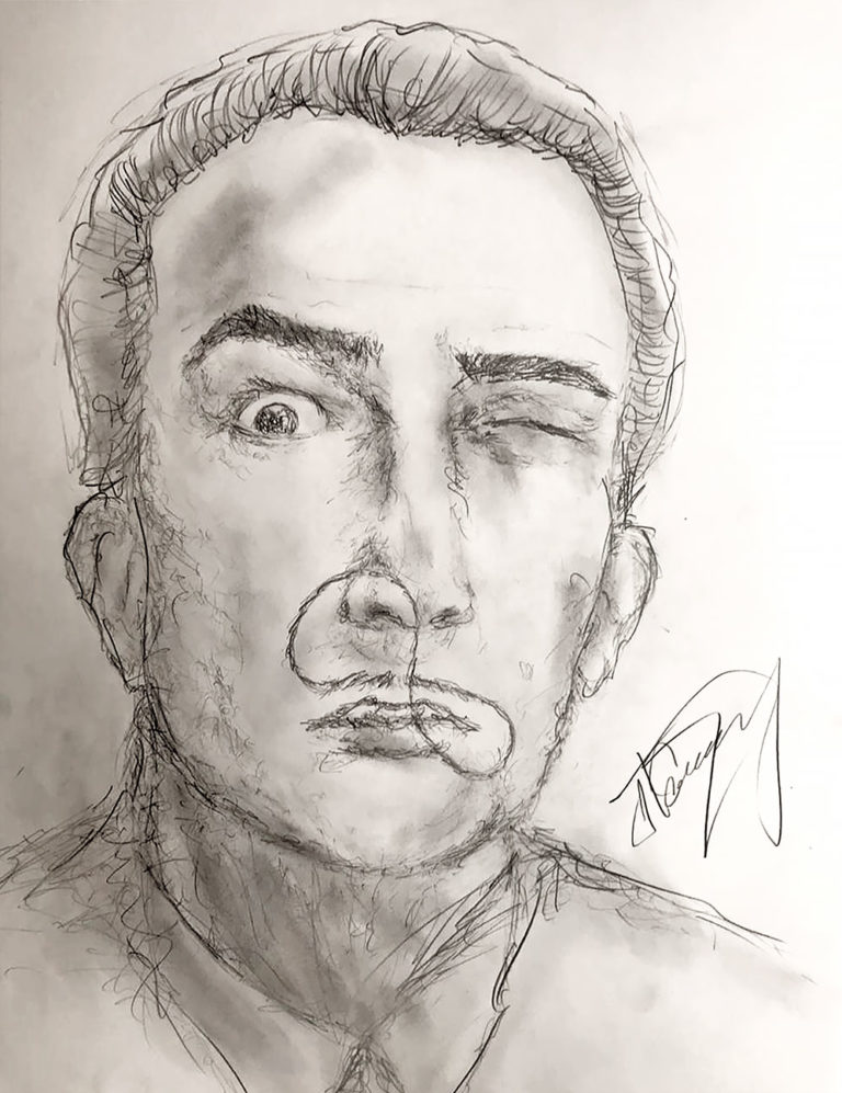 Salvador Dali Portrait Drawing