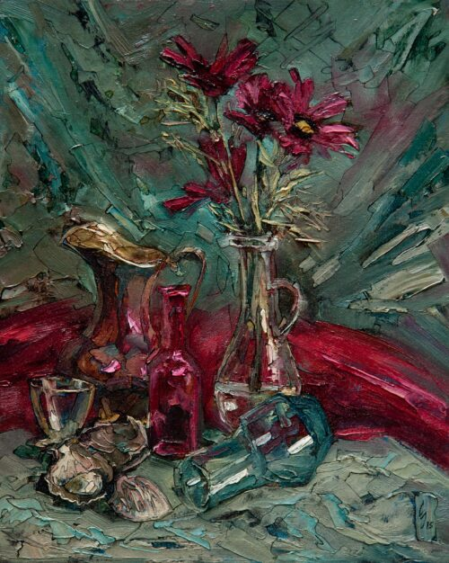 Still Life With A Red Scarf Painting Sergey Sovkov