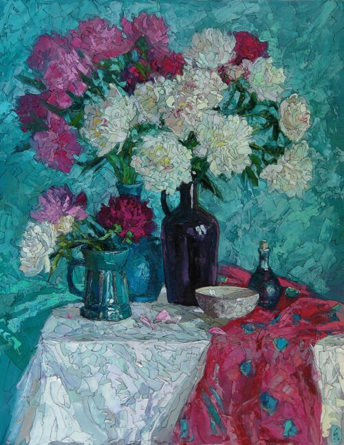 Sergey Sovkov Painting: Still Life with Peonies