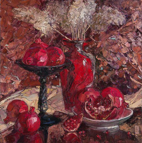 Venetian Vase And Pomegranates Painting Sergey Sovkov