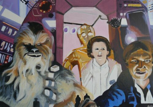 Wookiee Chewbacca, Princess Leia, C3po And Han Solo In The Millennium Hawk Star Wars Painting Anne Suttner
